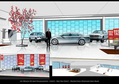 Set Design 3D And Visualization - Chevy - Red Tag Event