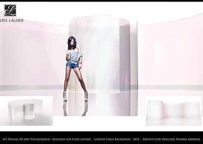 Set Design 3D And Visualization - Estee Lauder - Curved Stage Backdrops - 2014