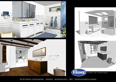 3D Set Design Visualization - Kleenex - Bathroom Sets - 2007