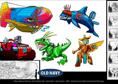 Wall Mural Design / On Screen Art - Old Navy - Kids Paint - 2005